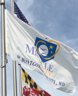 Miracle League of Montgomery County MD Flag with American and Maryland State Flag